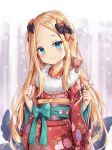 1girl abigail_williams_(fate/grand_order) alternate_costume black_bow blonde_hair blue_bow blue_eyes blurry blurry_background blush bow closed_mouth commentary_request depth_of_field fate/grand_order fate_(series) floral_print flower forehead fur_collar hair_bow head_tilt highres holding japanese_clothes kimono long_hair long_sleeves looking_at_viewer obi orange_bow pink_flower polka_dot polka_dot_bow print_kimono red_kimono sash shimokirin smile solo stuffed_animal stuffed_toy suction_cups teddy_bear tentacle upper_body very_long_hair wide_sleeves