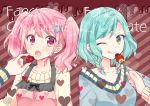 2girls :o ;q apron aqua_hair bang_dream! bangs blue_sweater blush bow brown_hair chocolate collarbone cover cover_page diagonal-striped_background diagonal_stripes doujin_cover english_text feeding food fruit green_eyes hair_bow hair_ornament heart heart_hair_ornament hikawa_hina long_sleeves looking_at_another maruyama_aya mio_(melchi) multiple_girls one_eye_closed pink_apron pink_bow pink_eyes pink_hair short_hair side_braids sidelocks strawberry striped striped_background sweatdrop sweater tongue tongue_out twintails upper_body valentine yellow_sweater