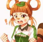 1girl :d bandaid bandaid_on_nose bangs blush blush_stickers brown_eyes brown_hair eyebrows hair_rings hykchiba inazuma_eleven_(series) inazuma_eleven_ares_no_tenbin leaf leaf_on_head open_mouth sidelocks smile soccer_uniform solo sportswear tanukigahara_ponko updo v-shaped_eyebrows