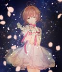 1girl antenna_hair brown_hair card_captor_sakura choker closed_eyes cowboy_shot dress eyebrows_visible_through_hair flower grin highres holding holding_flower kinomoto_sakura layered_dress pink_ribbon ribbon ribbon_choker sakuramoti0511 see-through short_dress short_hair sleeveless sleeveless_dress smile solo standing white_dress white_flower