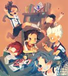 ahoge bad_id blue_hair blush book brown_eyes brown_hair desk dreadlocks drink endou_mamoru fan fubuki_shirou fudou_akio gouenji_shuuya grin hairlocs inazuma_eleven inazuma_eleven_(series) kicking kidou_yuuto kiyama_hiroto pencil red_eyes red_hair redhead shippo_(skink) short_hair sitting skink sleeping smile studying tears white_hair