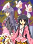 2girls animal_ears black_hair houraisan_kaguya long_hair looking_back multiple_girls necktie open_mouth purple_hair rabbit rabbit_ears reisen_udongein_inaba skirt smile touhou tsurukou_(tksymkw)