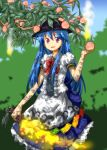 1girl blue_hair food fruit hat hinanawi_tenshi long_hair looking_at_viewer open_mouth peach smile solo sword_of_hisou touhou tsurukou_(tksymkw) very_long_hair