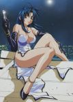 anklet bare_shoulders blue_hair bracelet breasts brown_eyes chidori_kaname cross derivative_work elbow_gloves full_metal_panic full_metal_panic! gloves gun high_heels highres jewelry large_breasts legs long_hair photoshop shoes sitting solo stairs strap_slip weapon