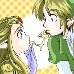 1girl blonde_hair blush couple face food gloves link lowres mouth_to_mouth_feeding nachos nintendo oekaki pizza pointy_ears princess_zelda shared_food the_legend_of_zelda