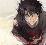 black_hair blood blue_eyes lowres majutsushi_orphen male orphen pisukesu solo
