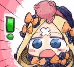 abigail_williams_(fate/grand_order) bandaid_on_forehead blonde_hair blush chibi fate/grand_order fate_(series) hair_ribbon kasuga_yuuki open_mouth ribbon stuffed_animal stuffed_toy teddy_bear