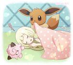 1girl akika_821 blanket blonde_hair blush_stickers braid clefairy closed_eyes creatures_(company) eevee game_freak gen_1_pokemon lillie_(pokemon) long_hair lying nintendo on_side parted_lips pokemon pokemon_(anime) pokemon_(creature) pokemon_sm_(anime) sleeping stuffed_toy twin_braids twitter_username