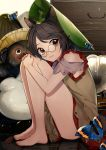 1girl animal_ear_fluff animal_ears bangs bare_legs bare_shoulders barefoot brown_dress brown_eyes brown_hair brown_nails bug butterfly daimaou_ruaeru drawer dress eyebrows_visible_through_hair full_body futatsuiwa_mamizou glasses green_hat hat insect knees_up leaf leaf_hat leaf_on_head light_particles looking_at_viewer phonograph raccoon_ears round_eyewear short_dress short_hair shoulder_cutout sitting smile solo swept_bangs thighs toenail_polish touhou