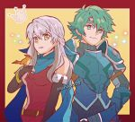 1boy 1girl alm_(fire_emblem) armor bangle bare_shoulders black_gloves bracelet dress elbow_gloves fingerless_gloves fire_emblem fire_emblem:_akatsuki_no_megami fire_emblem_echoes:_mou_hitori_no_eiyuuou fire_emblem_heroes gloves green_eyes green_hair hair_ribbon half_updo headband highres jewelry kiriya_(552260) long_hair looking_at_viewer micaiah nintendo open_mouth ribbon scarf short_hair side_slit silver_hair simple_background sleeveless sleeveless_dress smile yellow_eyes yune