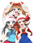 3girls :d absurdres bike_shorts black_shorts blue_(pokemon) blue_eyes blue_shirt bow brown_eyes brown_hair clenched_hands collarbone creatures_(company) double_v game_freak hair_bow hairband haruka_(pokemon) hat hat_bow hat_ribbon highres kotone_(pokemon) long_hair long_sleeves looking_at_viewer multiple_girls nintendo open_mouth overalls pleated_skirt poke_ball_print pokemon pokemon_(game) pokemon_frlg print_hat red_bow red_hairband red_hat red_ribbon red_shirt red_skirt ribbon shirt short_shorts shorts shorts_under_shorts simple_background skirt sleeveless sleeveless_shirt smile standing striped striped_bow twintails v white_background white_shorts wristband yuihiko