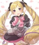 1girl arms_behind_back black_bow blonde_hair bow dress earrings elise_(fire_emblem_if) fire_emblem fire_emblem_if hair_bow haru_(nakajou-28) jewelry long_hair multicolored_hair nintendo open_mouth petals pink_bow purple_hair simple_background solo twintails violet_eyes white_background