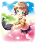 1girl :d aikei_ake animal bangs black_cat black_skirt blue_eyes blue_hair blue_sky blush bow bowtie brown_hair brown_sweater cat clouds collared_shirt day eyebrows_visible_through_hair full_body gradient_hair green_hair hair_between_eyes highres kitten long_sleeves looking_at_viewer multicolored_hair no_shoes open_mouth original outdoors pink_hair pleated_skirt red_neckwear shirt skirt sky smile solo sweater thigh-highs white_legwear white_shirt
