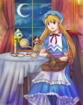 1girl apron bag blonde_hair blue_hat bow cake candle cape chair clouds curly_hair dress food gloves goggles goggles_on_head hat kari_avalon long_hair marivel_armitage moon pointy_ears red_eyes ribbon smile table tea wild_arms wild_arms_2