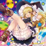 1girl ;d album_cover ankle_boots black_skirt blonde_hair bloomers blush boots bow braid breasts brown_footwear buckle cd commentary cover double-breasted frilled_skirt frills hair_bow hand_on_headphones hand_up hat hat_bow headphones jewelry kirisame_marisa leg_up legs long_hair looking_at_viewer medium_breasts midriff navel necklace one_eye_closed open_mouth petticoat puffy_short_sleeves puffy_sleeves shoe_soles short_sleeves side_braid single_braid skirt skirt_set smile socks solo star starry_background touhou underwear v-shaped_eyebrows white_bow witch_hat wrist_cuffs yellow_eyes yuuki_yuchi