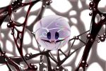 absurdres blurry blurry_background bubble commentary_request crying empty_eyes floating glaring highres kirby kirby:_star_allies kirby_(series) light nintendo no_humans rainbow_gradient red_eyes reflective_eyes spoilers tears third_eye void_termina wakame_(pixiv) white_background white_skin