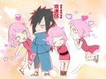 1boy 1girl black_hair female green_eyes haruno_sakura male naruto pink_hair uchiha_madara