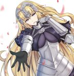 1girl armor black_gloves blonde_hair blue_eyes breasts breasts_apart chains dylannn eyebrows_visible_through_hair fate/apocrypha fate_(series) floating_hair gloves head_tilt headpiece highres jeanne_d'arc_(fate) jeanne_d'arc_(fate)_(all) large_breasts long_hair looking_at_viewer parted_lips petals shiny shiny_hair solo very_long_hair white_background
