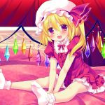 1girl :d alternate_costume bed between_legs blonde_hair blush bow crystal curtains dress fang flandre_scarlet frilled_dress frilled_sleeves frills hair_between_eyes hand_between_legs hat hat_ribbon highres indoors looking_at_viewer medium_hair miyasu_risa mob_cap on_bed one_side_up open_mouth pink_eyes pom_pom_(clothes) puffy_short_sleeves puffy_sleeves red_dress red_ribbon ribbon short_dress short_sleeves sitting smile socks solo touhou v_arms white_legwear wings