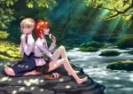 2girls :d ahoge artoria_pendragon_(all) bangs bare_legs barefoot black_skirt blonde_hair blue_eyes blue_skirt blush braid collared_shirt commentary_request dappled_sunlight day eyebrows_visible_through_hair fate/grand_order fate/stay_night fate_(series) food fujimaru_ritsuka_(female) hair_between_eyes hair_ornament hair_scrunchie holding holding_food jacket knees_up long_sleeves multiple_girls nishimura_eri no_legwear one_side_up onigiri open_mouth orange_scrunchie outdoors red_eyes redhead saber scrunchie seiza shirt sidelocks sitting skirt smile sunlight tree water white_jacket white_shirt