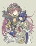 1boy 1girl alfonse_(fire_emblem) armor blue_hair book breasts cape cleavage closed_eyes closed_mouth feather_trim fire_emblem fire_emblem_heroes grey_background hat holding holding_book loki_(fire_emblem_heroes) long_hair murabito_ba nintendo open_book purple_hair short_hair simple_background sitting