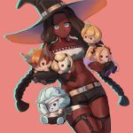 1girl abigail_williams_(fate/grand_order) billy_the_kid_(fate/grand_order) black_hat black_legwear black_shorts blue_eyes breasts character_doll character_request collarbone dark_skin dilaih doll fate/grand_order fate_(series) geronimo_(fate/grand_order) halloween hat holding holding_doll lobo_(fate/grand_order) long_hair looking_at_viewer navel pink_background short_shorts shorts small_breasts standing twintails very_long_hair witch_hat