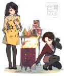 2girls ;( black_footwear black_legwear black_pants bottle brown_coat brown_hair coat food grey_skirt hand_in_pocket high_heels highres holding holding_food holding_hair kfc kneeling long_hair long_sleeves multiple_girls office_lady office_lady_taiwan original pants pantyhose simple_background skirt taiwan tennohi twitter_username violet_eyes white_background