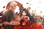 1boy 1girl absurdres apron archer arms_up bangs black_apron black_gloves black_hair black_shirt blue_eyes brooch cake choker collarbone corsage cup dress drinking_glass earrings elbow_gloves fate/stay_night fate_(series) feeding flower food fork from_side fruit gloves hair_ribbon highres holding holding_cup holding_fork holding_tray jewelry lace lace-trimmed_choker lace-trimmed_gloves lace_trim leaf long_hair looking_at_viewer macaron open_mouth parted_bangs petals profile red_dress red_flower red_rose ribbon rose rose_petals shirt simple_background sleeves_rolled_up strapless strapless_dress strawberry sunflower tan teatix thick_eyebrows tohsaka_rin tray twintails upper_teeth very_long_hair white_background white_hair wine_glass