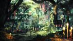 building day fantasy final_fantasy final_fantasy_xiv forest highres light_rays moss nature official_art outdoors overgrown plant ruins scenery solo sunlight tree vines watermark