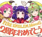 3girls :3 amagai_tarou bird blush chiki copyright_name dragon_girl dragon_wings fa facial_mark feh_(fire_emblem_heroes) fire_emblem fire_emblem:_fuuin_no_tsurugi fire_emblem:_monshou_no_nazo fire_emblem:_seima_no_kouseki fire_emblem_heroes forehead_mark green_eyes green_hair holding holding_sign jewelry long_hair looking_at_viewer mamkute multi-tied_hair multiple_girls myrrh nintendo official_art one_eye_closed open_mouth owl pink_hair pointy_ears ponytail purple_hair red_eyes short_hair sign simple_background smile tiara twintails white_background wings