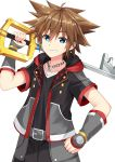 1boy arm_guards bangs belt belt_buckle black_jacket black_pants black_shirt blue_eyes brown_hair buckle chains collarbone commentary_request crown eyebrows_visible_through_hair grey_belt grin hair_between_eyes holding holding_key jacket key kingdom_hearts kingdom_hearts_iii komori_kuzuyu looking_at_viewer male_focus open_clothes open_jacket oversized_object pants shirt short_sleeves simple_background smile solo sora_(kingdom_hearts) white_background