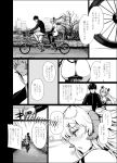 ass bicycle_seat blush boots bow comic demon_girl demon_horns demon_tail elbow_gloves eyebrows_visible_through_hair fang fang_out gentsuki gloom_(expression) gloves greyscale hair_bow halterneck highres horns jacket long_hair monochrome motion_lines original pedal pointy_ears revealing_clothes shaded_face shoes shorts sneakers speech_bubble succubus tail tandem_bicycle thick_eyebrows thigh-highs thigh_boots track_jacket two_side_up venus_symbol