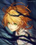 1girl bangs blurry_foreground closed_mouth commentary emma_(yakusoku_no_neverland) english_commentary eyes_visible_through_hair green_eyes hair_between_eyes highres looking_at_viewer neck_tattoo orange_hair shirt short_hair simple_background solo tattoo watermark web_address wenqing_yan white_shirt yakusoku_no_neverland