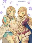 2girls absurdres armor bird blonde_hair blue_eyes blush braid brown_gloves cape crown crown_braid cute dress earrings feather_trim feh_(fire_emblem_heroes) fire_emblem fire_emblem_heroes fjorm_(fire_emblem_heroes) gloves grin highres intelligent_systems jewelry long_hair multiple_girls nintendo nishimura_(nianiamu) one_eye_closed owl parted_lips sharena short_dress short_hair skirt smile star twitter_username v white_skirt