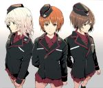 3girls arm_behind_head bangs black_hat black_jacket blue_eyes bonkara_(sokuseki_maou) brown_eyes brown_hair closed_mouth commentary cowboy_shot dress_shirt emblem eyebrows_visible_through_hair frown garrison_cap girls_und_panzer gradient gradient_background grey_background hat highres itsumi_erika jacket kuromorimine_military_uniform long_hair long_sleeves looking_at_viewer military military_hat military_uniform miniskirt multiple_girls nishizumi_maho nishizumi_miho pleated_skirt red_shirt red_skirt shirt short_hair side-by-side silver_hair skirt standing uniform wing_collar