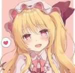 1girl :d alternate_hairstyle bangs beni_kurage blush border bow bowtie commentary_request eyebrows_visible_through_hair flandre_scarlet frilled_shirt_collar frills hair_between_eyes hat hat_bow head_tilt heart heart-shaped_pupils long_hair looking_at_viewer mob_cap one_side_up open_mouth outside_border pink_background pink_neckwear portrait puffy_short_sleeves puffy_sleeves red_bow red_skirt red_vest saliva saliva_trail shirt short_sleeves simple_background skirt smile solo spoken_heart symbol-shaped_pupils touhou vest white_border white_hat white_shirt wings
