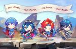 1girl 3boys armor blue_armor blue_eyes blue_hair blush cape chibi dress falchion_(fire_emblem) father_and_daughter fire_emblem fire_emblem:_fuuin_no_tsurugi fire_emblem:_kakusei fire_emblem:_mystery_of_the_emblem fire_emblem_heroes gloves great_granddaughter great_grandfather great_grandson headband krom long_hair looking_at_viewer lucina male_focus marth multiple_boys nintendo open_mouth redhead roy_(fire_emblem) short_hair simple_background smile super_smash_bros. super_smash_bros._ultimate super_smash_bros_for_wii_u_and_3ds super_smash_bros_melee sword tiara toasterkiwi twintails weapon