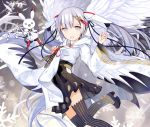 1girl :d black_legwear black_ribbon black_skirt floating_hair flower grey_eyes hair_flower hair_ornament hair_ribbon hatsune_miku highres holding japanese_clothes kari_kenji kimono leg_up long_hair long_sleeves looking_at_viewer miniskirt musical_note musical_note_hair_ornament musical_note_print one_eye_closed open_mouth pleated_skirt print_kimono print_sleeves rabbit red_ribbon ribbon silver_hair skirt smile snowflake_print solo striped striped_legwear thigh-highs twintails vertical-striped_legwear vertical_stripes very_long_hair vocaloid white_kimono wide_sleeves yellow_flower yuki_miku yukine_(vocaloid) zettai_ryouiki