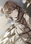1girl brown coat dutch_angle lolicept looking_at_viewer medium_hair scarf self_shot side_bun solo yahari_ore_no_seishun_lovecome_wa_machigatteiru. yuigahama_yui