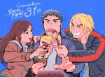 1girl 2boys anniversary black_hair blonde_hair blue_background braid brown_eyes brown_hair capcom casual chun-li crepe facial_hair feeding food fork grin hair_down jacket ken_masters long_hair multiple_boys pasta ryuu_(street_fighter) simple_background smile spaghetti spoon street_fighter stubble teeth toko_(tokkotoritori)