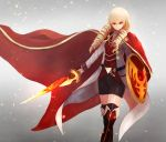 1girl b13art bike_shorts blonde_hair boots cape closed_mouth drill_hair erika_wagner hair_between_eyes highres holding holding_shield holding_sword holding_weapon long_hair long_sleeves red_eyes shield simple_background skirt solo standing sword thigh-highs twin_drills twintails under_night_in-birth under_night_in-birth_exe:late[st] weapon