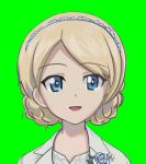 1girl ace_combat ace_combat_7 blonde_hair blue_eyes braid commentary_request crown_braid darjeeling eyebrows_visible_through_hair flower girls_und_panzer green_background lapel_flower look-alike open_mouth rosa_cossette_d'elise rose smile spirit_chiasma white_flower white_rose