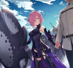 1boy 6+girls ahoge armor armored_boots artoria_pendragon_(all) bangs banner belt black_dress black_leotard black_pants blonde_hair boots braid breasts chaldea_uniform clouds command_spell dark_excalibur dark_skin dragon_horns dress elbow_gloves eyebrows_visible_through_hair facial_scar fate/grand_order fate_(series) french_braid fujimaru_ritsuka_(male) gloves green_hair hair_between_eyes hair_over_one_eye hand_holding hassan_of_serenity_(fate) head_out_of_frame horns jack_the_ripper_(fate/apocrypha) jacket japanese_clothes kimono kiyohime_(fate/grand_order) lavender_hair leotard long_hair looking_at_another mash_kyrielight medium_breasts multiple_girls pants pixiv_fate/grand_order_contest_1 purple_hair rubellent saber_alter scar scar_on_cheek shaded_face shield short_hair silver_hair sky smile solo_focus sword very_long_hair violet_eyes weapon white_jacket yellow_eyes