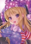 1girl :d american_flag_dress bangs blonde_hair blue_dress blush breasts clownpiece commentary dress eyebrows_visible_through_hair fairy_wings fang full_moon hat head_tilt highres jester_cap long_hair looking_at_viewer moon neck_ruff open_mouth polka_dot polka_dot_hat pom_pom_(clothes) purple_hat red_dress short_sleeves sin_(meltdown3939) small_breasts smile solo space star star_print striped striped_dress touhou upper_body violet_eyes white_dress wings