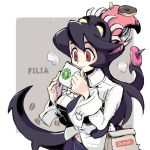 1girl 770mk bag black_hair character_name coffee coffee_mug cup doughnut eating extra_mouth filia_(skullgirls) food holding holding_cup living_hair long_hair long_tongue looking_down mug necktie open_mouth prehensile_hair red_eyes samson_(skullgirls) school_uniform sharp_teeth simple_background skullgirls smile steam teeth tongue