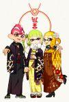 1boy 2girls domino_mask hand_holding high_heels inkling japanese_clothes kimono mask multiple_girls octoling sandals scarf short_hair simple_background splatoon splatoon_(series) splatoon_2 suction_cups yeneny yukata