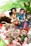 4girls absurdres alternate_costume antenna_hair asymmetrical_hair beer_can biceps black_hair blonde_hair blue_dress blue_eyes bracelet braid breasts brown_hair cake cammy_white can capcom cherry_blossoms chin_rest china_dress chinese_clothes chopsticks chun-li cleavage commentary_request cornrows cupcake dark_skin day dress earrings eyeshadow feet fingerless_gloves food gloves graphite_(medium) group_picture gtolin_chang headband highres jewelry kasugano_sakura lap_pillow large_breasts laura_matsuda legs_up long_hair looking_at_viewer lying makeup multiple_girls on_back on_stomach outdoors petals puffy_short_sleeves puffy_sleeves purple_legwear red_headband sash scar short_hair short_sleeves small_breasts soles street_fighter street_fighter_v sushi takoyaki the_pose thick_thighs thighs toeless_legwear toes toned traditional_media twin_braids uniform very_dark_skin