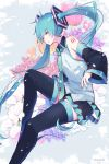 1girl bare_shoulders belt blue_eyes blue_hair commentary detached_sleeves floral_background flower from_side full_body hair_ornament hatsune_miku highres knee_up long_hair nail_polish necktie orchid shoulder_tattoo sitting skirt solo tattoo thigh-highs tulip twintails twitter_username very_long_hair vocaloid wanaxtuco zettai_ryouiki