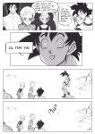 1girl 3boys :d ^_^ annoyed broly_(dragon_ball_super) cheelai close-up closed_eyes closed_eyes comic commentary dragon_ball dragon_ball_super_broly english_commentary english_text face frown greyscale hand_up hat highres lemo_(dragon_ball) mellon_snow monochrome multiple_boys nervous open_mouth scar scouter shirtless smile son_gokuu speech_bubble sweatdrop waving