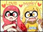 2girls :d black_border blonde_hair blush border domino_mask english_text eromame fang heart heart-shaped_pupils inkling mask money_gesture multiple_girls object_hug open_mouth pointy_ears red_eyes redhead shirt smile splatoon splatoon_(series) splatoon_1 symbol-shaped_pupils symbol_in_eye tentacle_hair yellow_eyes yen_sign
